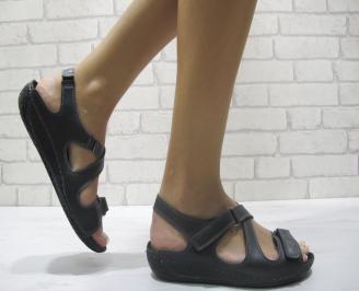 Дамски равни сандали естествена кожа черни MCJM-23995