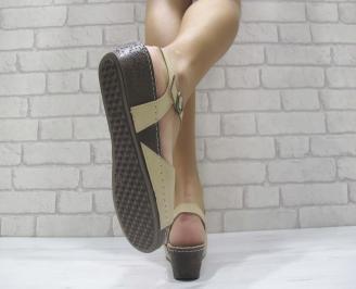Дамски равни сандали естествена кожа бежови FRAF-23998