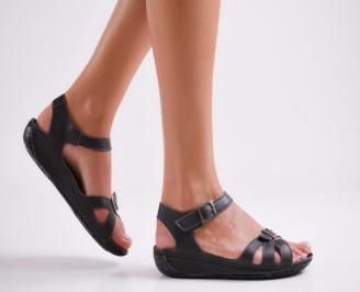Дамски равни сандали естествена кожа черни TXCR-24011
