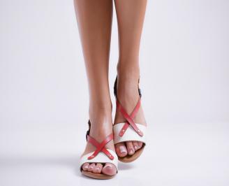 Дамски равни сандали естествена кожа бяло/синьо/червено CKLT-24016