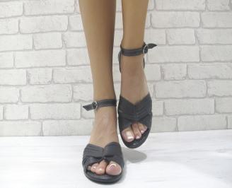 Дамски равни сандали естествена кожа черни XMJB-24023