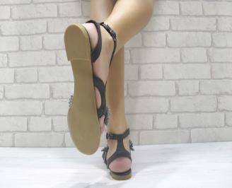 Дамски равни сандали естествена кожа черни HOBH-24025