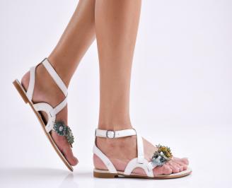 Дамски равни сандали естествена кожа бели HEMN-24029