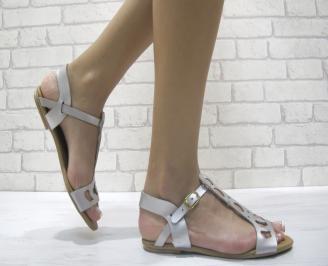 Дамски равни сандали естествена  кожа сребристи ZGFB-24033