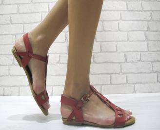 Дамски равни сандали естествена кожа червени NHIP-24036