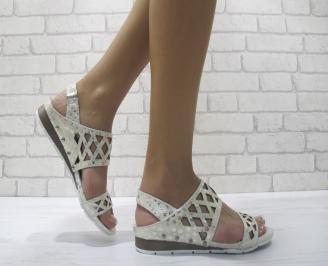 Дамски равни сандали естествена кожа златисти VBST-24052