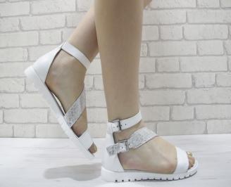 Дамски равни сандали естествена кожа бяло и сребърно RKTD-24057
