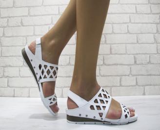 Дамски равни сандали естествена кожа бели CLDY-24083