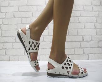 Дамски равни сандали естествена кожа бежови PDWI-24084