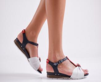 Дамски равни сандали естествена кожа бял/червен/син цвят JQGA-24086