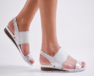 Дамски равни  сандали естествена кожа сребристи TPRD-24474