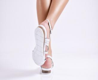 Дамски равни  сандали естествена кожа бели MFLG-24475