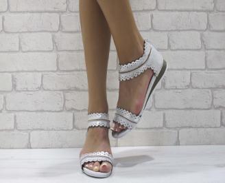 Дамски равни  сандали естествена кожа сребристи CTRD-24476