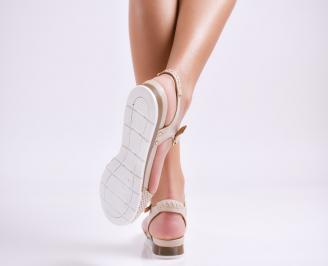 Дамски равни  сандали естествена кожа бели GUFN-24478