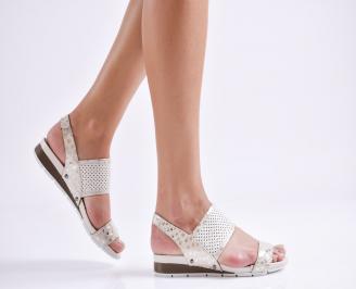 Дамски равни  сандали естествена кожа бежови MDFL-24480