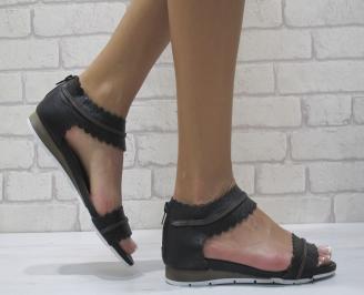 Дамски равни  сандали естествена кожа черни LKMS-24481