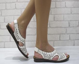 Дамски равни  сандали естествена кожа бели MIBS-24486