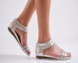 Дамски равни  сандали естествена кожа златисти RTUE-24487