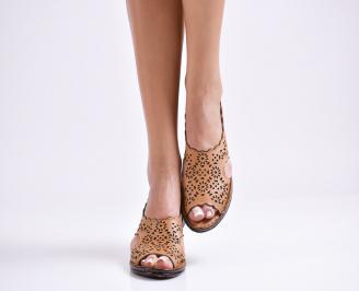 Дамски равни  сандали естествена кожа кафяви UIXM-24488