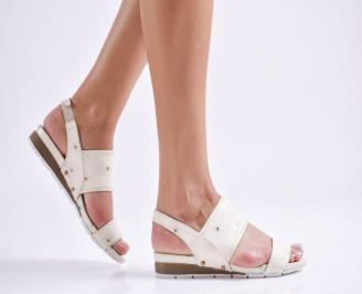 Дамски равни  сандали естествена кожа бежови SCTO-24750