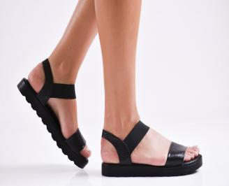 Дамски равни  сандали естествена кожа черни KUVK-27271