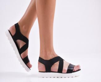 Дамски равни  сандали естествена кожа черни HNCA-27272