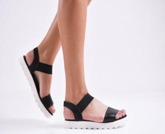Дамски равни  сандали естествена кожа черни BQUZ-27273