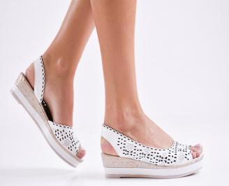 Дамски равни  сандали естествена кожа бели LXUZ-27275