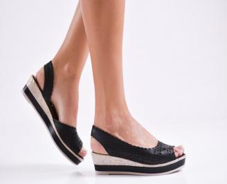 Дамски равни  сандали естествена кожа черни KCNA-27279