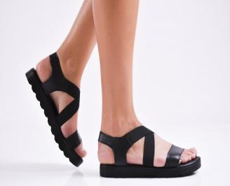 Дамски равни  сандали естествена кожа черни QWZE-27337
