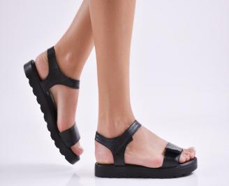 Дамски равни сандали  естествена кожа черни LBJN-27423