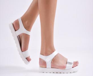 Дамски равни сандали  естествена кожа бели RVPC-27424