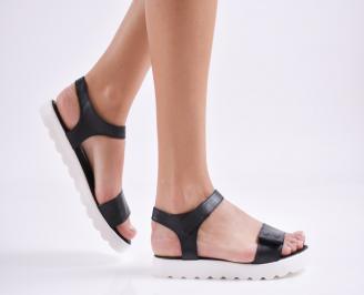 Дамски равни сандали  естествена кожа черни NAUC-27425