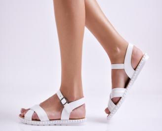 Дамски равни сандали  естествена кожа бели XKQN-27450