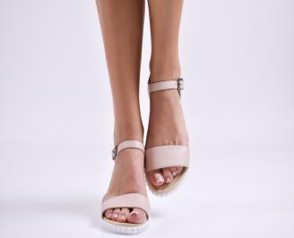 Дамски равни сандали  естествена кожа пудра YNDN-27451
