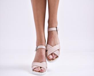 Дамски равни сандали  естествена кожа пудра PAHV-27457
