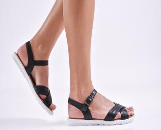 Дамски равни сандали  естествена кожа черни OCXJ-27458