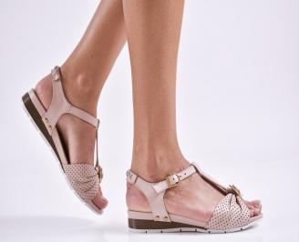 Дамски равни сандали  естествена кожа пудра TYLG-27461
