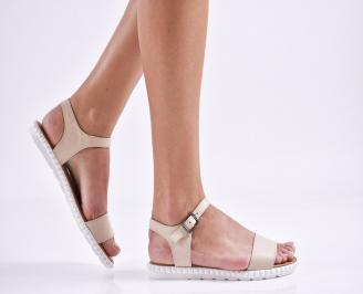 Дамски равни сандали естествена кожа бежови UOJL-27463