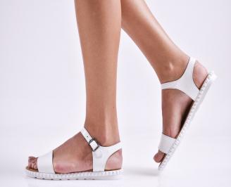 Дамски равни сандали  естествена кожа бели OXLS-27468