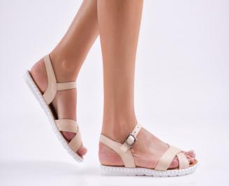 Дамски равни сандали естествена кожа бежови KBTX-27489