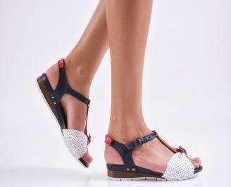 Дамски равни сандали  естествена кожа бели QDIL-27497