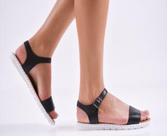 Дамски равни сандали  естествена кожа черни RFUI-27498