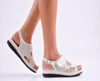 Дамски равни  сандали естествена кожа бежови PTKL-27512