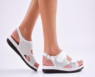 Дамски равни  сандали естествена кожа бели IRKD-27513
