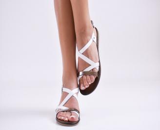 Дамски равни  сандали естествена кожа бели RZKR-27584