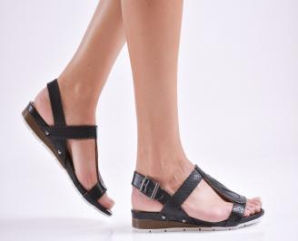 Дамски равни сандали  естествена кожа черни CKJY-27628