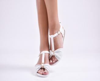 Дамски равни  сандали естествена кожа бели JTYC-27631