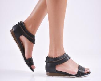 Дамски равни сандали  естествена кожа черни LGYN-27636
