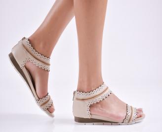 Дамски равни сандали  естествена кожа бежови ORWS-27637